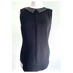 Rag & Bone Black Astrid Leather Collar Top Size M